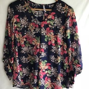 Flowery sheer top